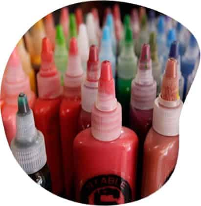 different colour stable bottles