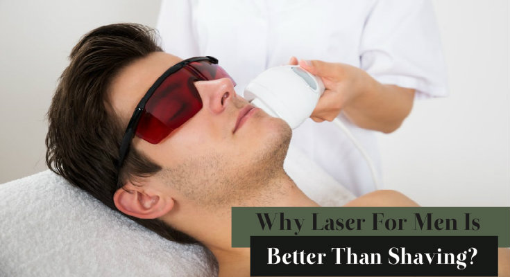 A Man getting his facial hair removed with laser